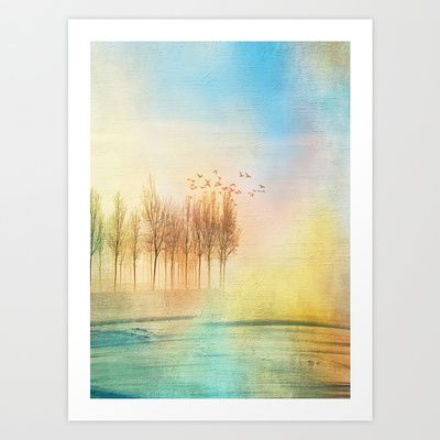 Art print of a landscape with soft colors. Nature and colors by Viviana Gonzalez