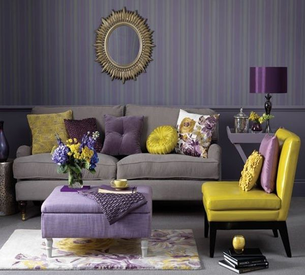 Interior, Interior Design with Creative Color Scheme for Your Home: Living Room With Gray, Yellow And Purple Color Scheme Interior