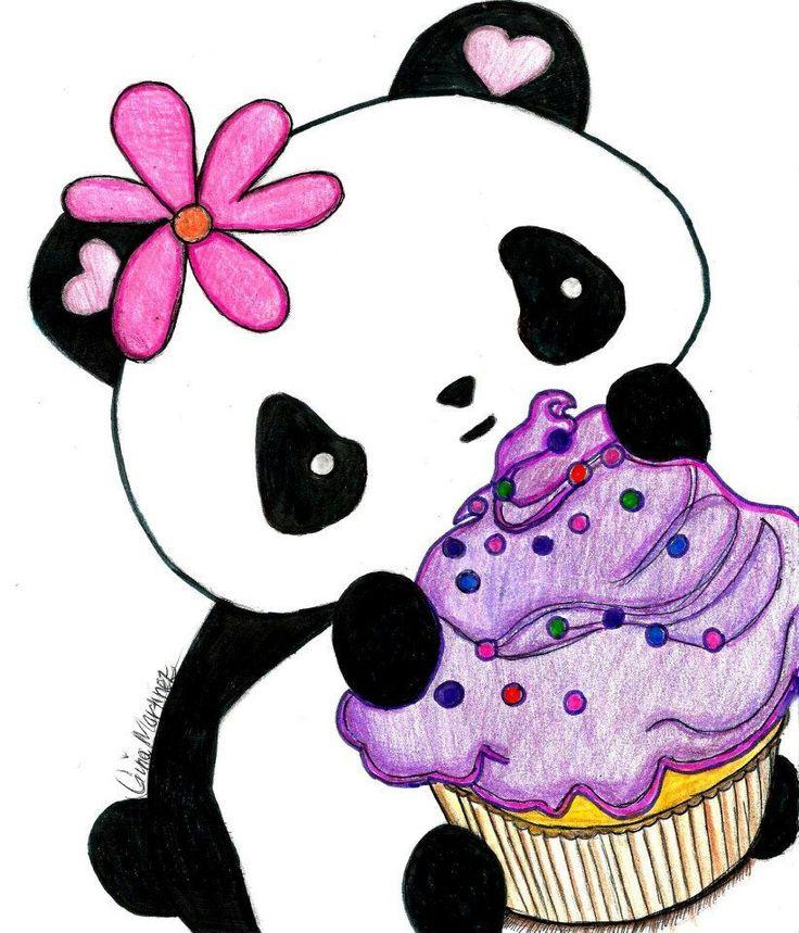 Kawaii PandaCupcake Drawing Crush Pinterest