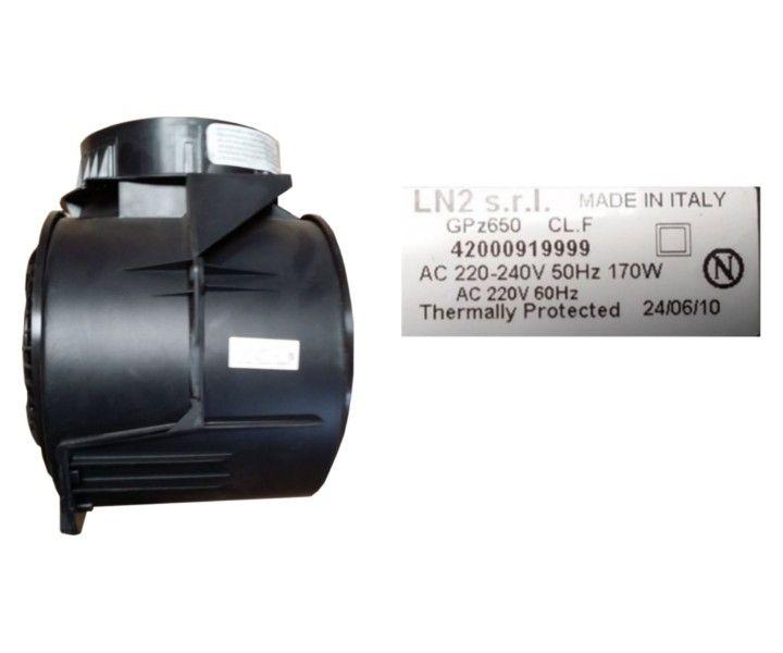 Motor für Dunstabzugshauben des Herstellers LN2. Der Motor hat die Modellbezeichnung GPz650 - 42000919999 mit 3 Leistungsstufen