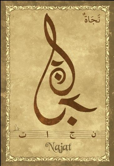 "Carte postale prénom arabe féminin ""Najat"" - نجاة - Mahrez Landoulsi - Objet de décoration - Idée cadeau - Oeuvre artisanale"