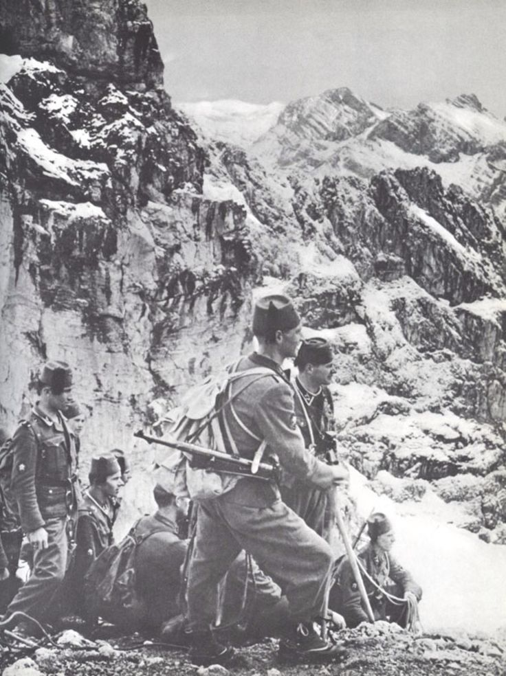 WWII. - 1944. - Croatia/NDH - SS Handschar division troops somewhere in the mountains, most likely the Dinaric Alps.