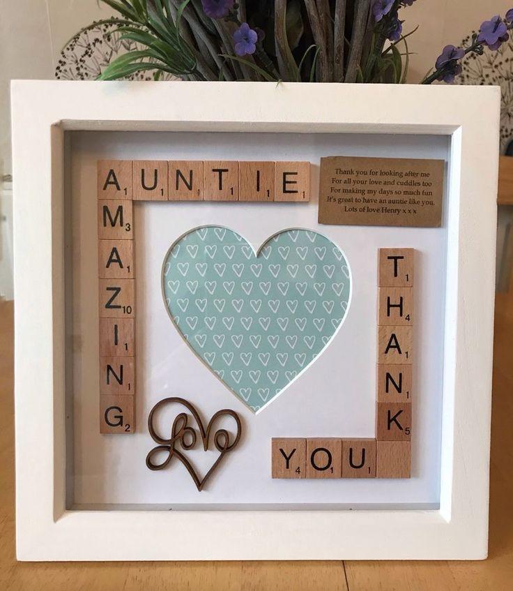 Amazing Auntie Photo Box Frame. Aunt Aunty Gift. Scrabble Wall Art Decor Aunties | eBay