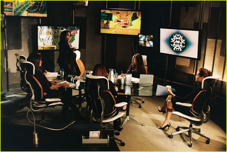 Angelina Jolie in the movie Mr and Mrs.Smith seen in a Humanscale Freedom office chair  with a head rest.