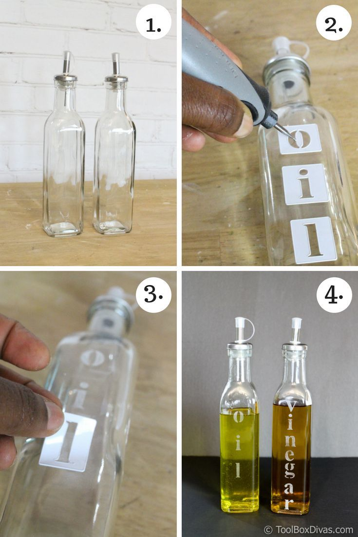 DIY Craft: How to Etch Glass Easy step by step instructions @ToolBox Divas  Etched Glass Project. Vinegar and oil dispenser Dollar Tree project Dollar store Project <a class=