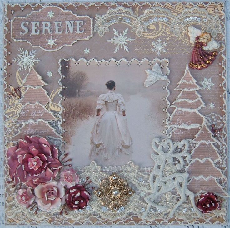 Serene ~ Stunning heritage Christmas page with a wintery, vintage look. Love the puff paint 'snow' on the trees and the delicate lace details.