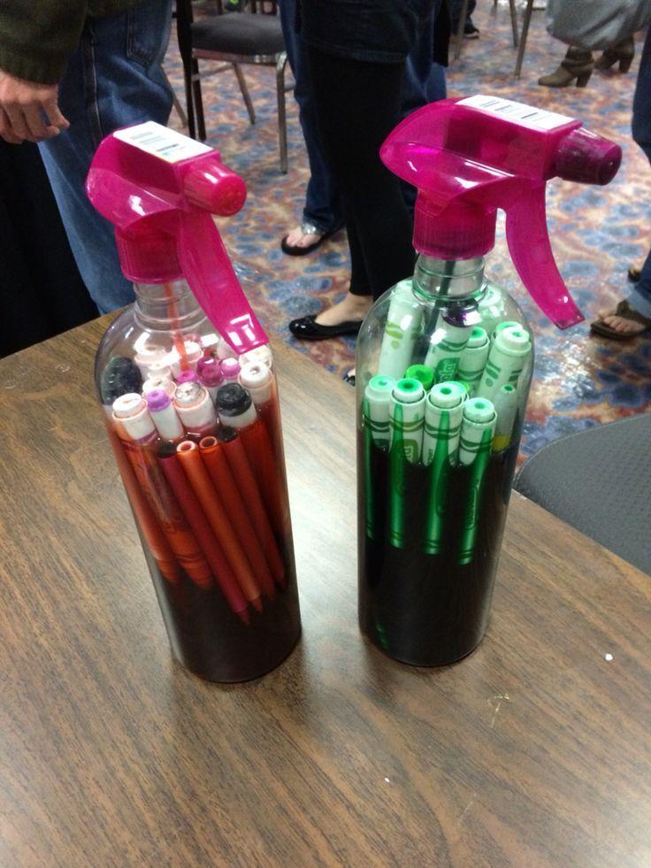 Como aproveitar o material escolar das crianças - spray de canetinha