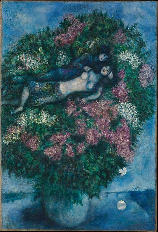Lovers among Lilacs   Marc Chagall  (French, Vitebsk 1887–1985 Saint-Paul-de-Vence)