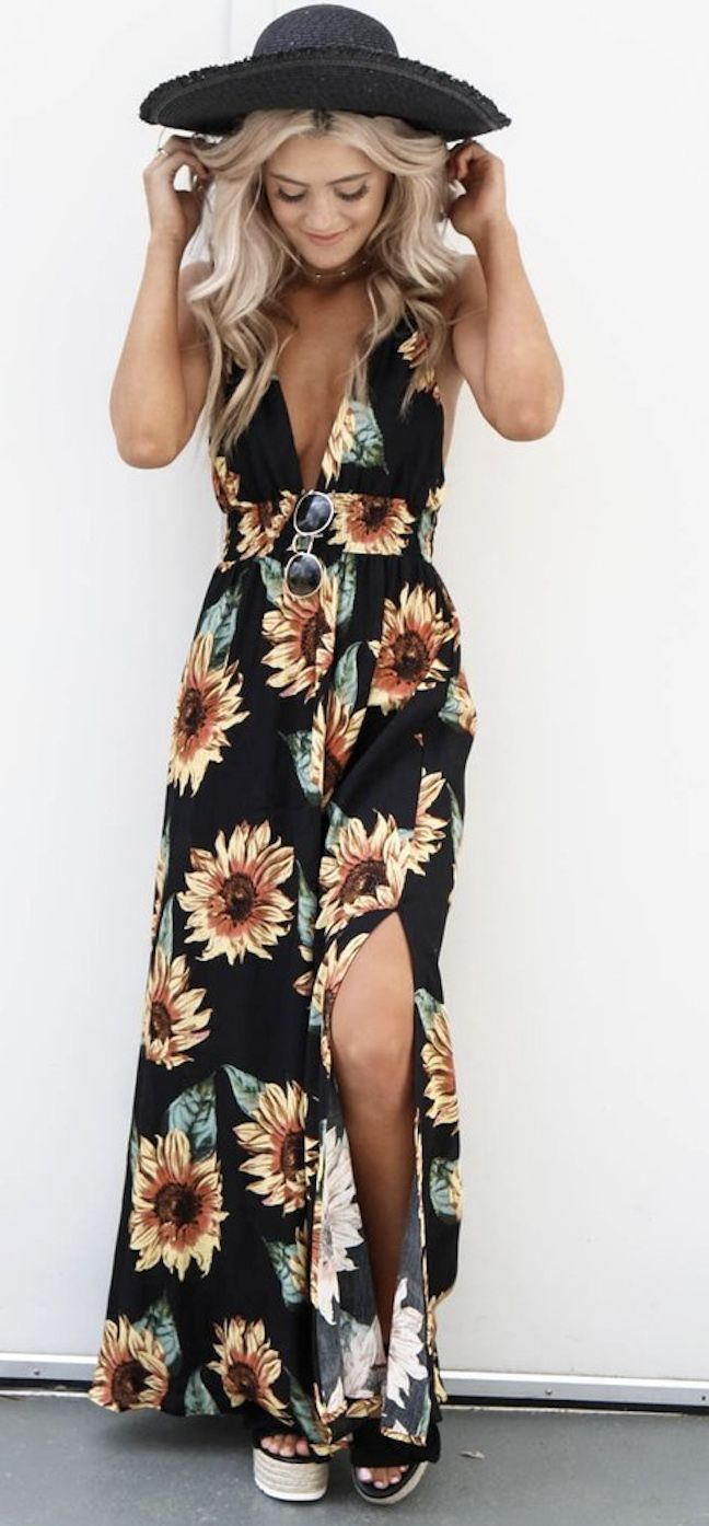 c127c1fcb0 for this Chicnico Casual Sunflower Print Maxi Dress 2018 Fashion Spring  Summer V… -  outfits  Summer  ForTeens  ForSchool  Escuela  Edgy  Spring   Cute ...