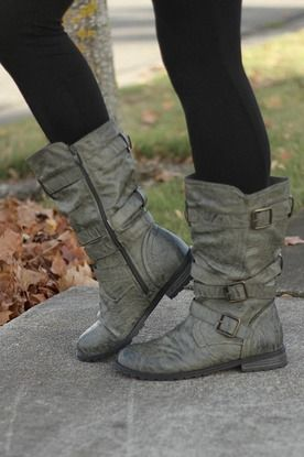 shoes - boots - everyday Grey Wash Mid-Calf Boots