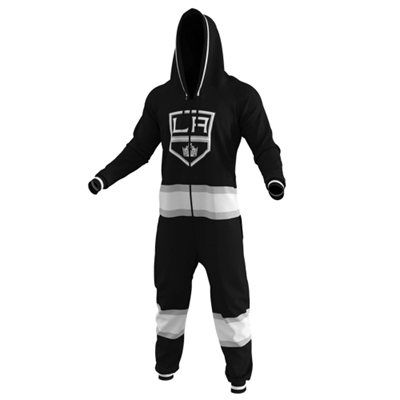 i need this in my life.  Los Angeles Kings Hockey Jersey Pajamas – Black