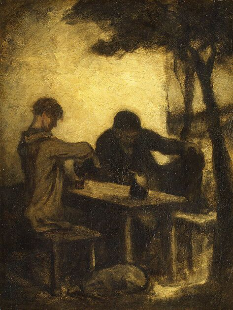 Honoré Daumier - The Drinkers (1862) (from themetropolitanline)