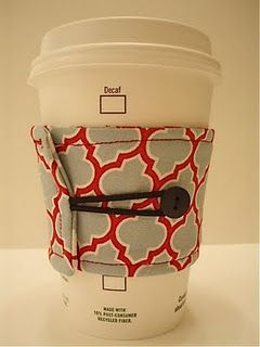 Reversible handmade coffee cozy! Perhaps this will be my first sewing project….