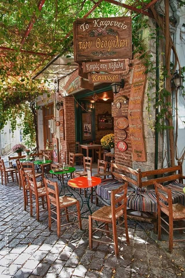 Cafe in Agiasos, Lesvos, Greece