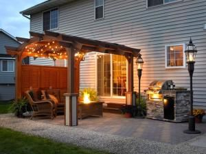 outdoor patio ideas with fire pit and pergola | Pergola for Patio - Outdoor Room- by Asmodel