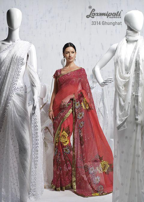 Gajari & multi color georgette saree decorate with multi floral prints & lace.