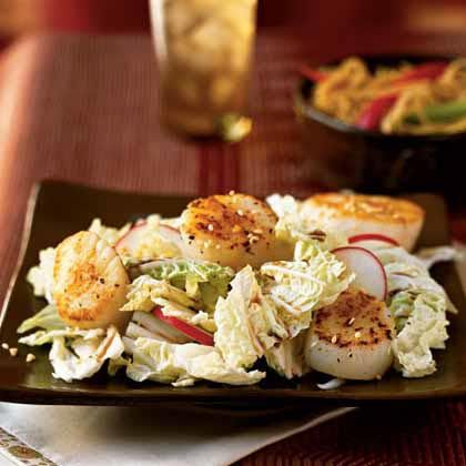 Seared Sea Scallops on Asian Slaw Recipe | MyRecipes