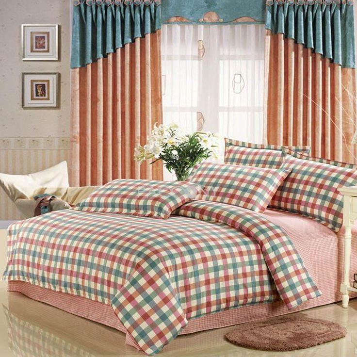 Elegant Plaid Cotton 4-Piece Full/Queen Size Bedding Sets