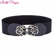 Women Belts Luxury Brand Ladies Girls Fashion Wide Metal Buckles Stretchy Womens Elastic Waist Belt Waistband Belts For Women(China)