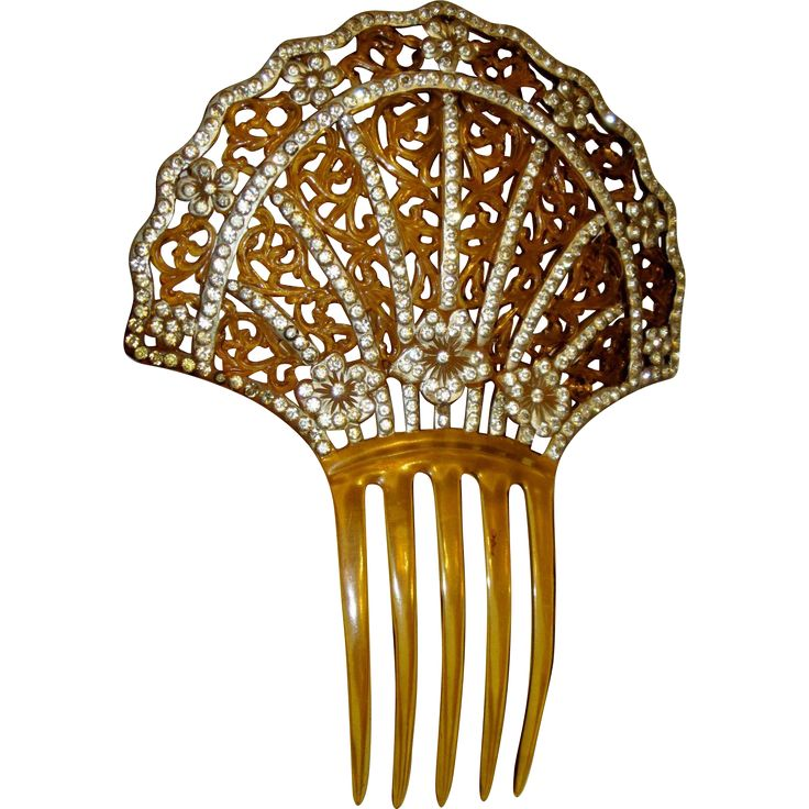 Art Deco Amber-Colored Celluloid Comb with Filigree & Rhinestones.