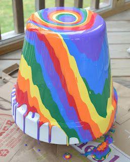 Rainbow Pour Painted Flower Pots