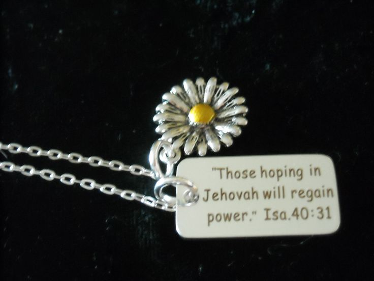 New ~ Silver ~ Year Text 2018 ~ Isaiah 40:31 ~ Necklace with a GORGEOUS FLOWER  ~ more options ~ JW.org ~ Gift ~ Intro Price 12.95 by GlamRusJewels on Etsy