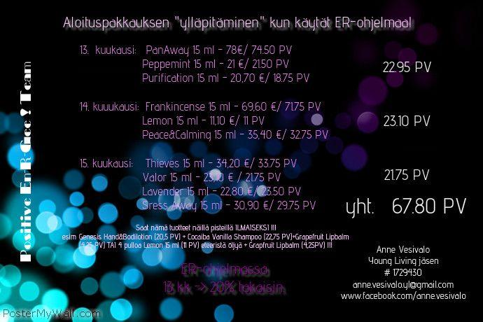 Kun olet ollut ohjelmassa vuoden, saat joka kuukausi ER-ohjelmalla tilauksesi arvosta 20% takaisin pisteinä, joilla voit saat ILMAISIA tuotteita !!!  Tässä esimerkkinä käytetty EveryDayOilsien ylläpitoa.. :)