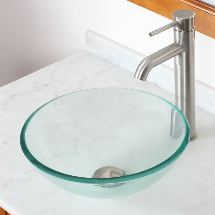 Tempered Glass Round Bowl Vessel Bathroom Sink Products