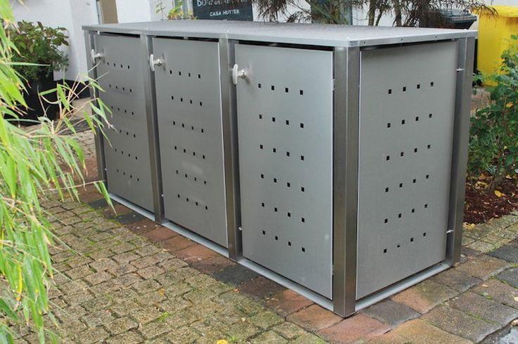 Die Mülltonnenbox Edelstahl mit Vierkantpfosten wird montiert für Mülltonnen bis 240 L. Die Mülltonnenbox ist für 1, 2, oder 3 Mülltonnen erhältlich.