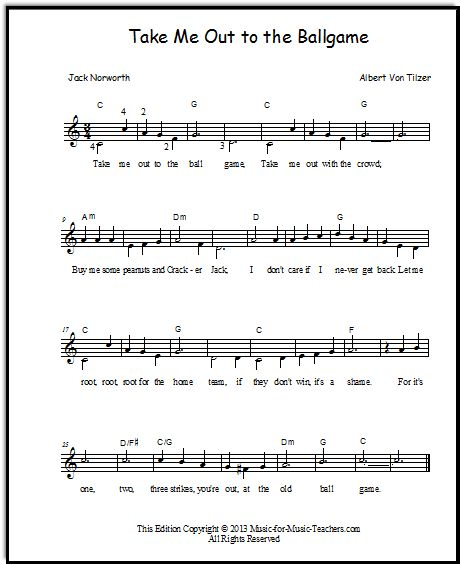 Dancing On My Own Sheet Music With Lyrics: Take Me Out To The Ballgame Piano Duet For Beginners