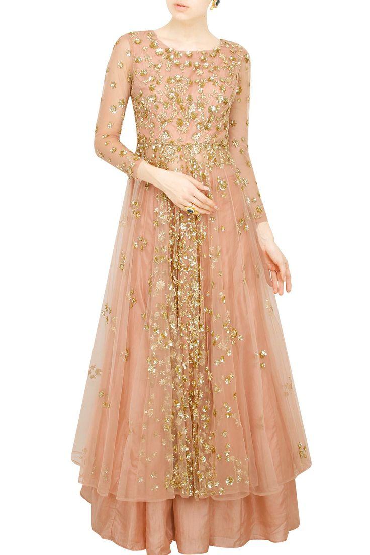 Astha Narang presents Pink gold flare jacket with skirt