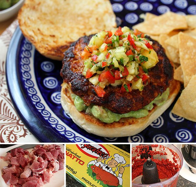 hamburgers al pastor with guac and pineapple salsa...two of my favorites in one...