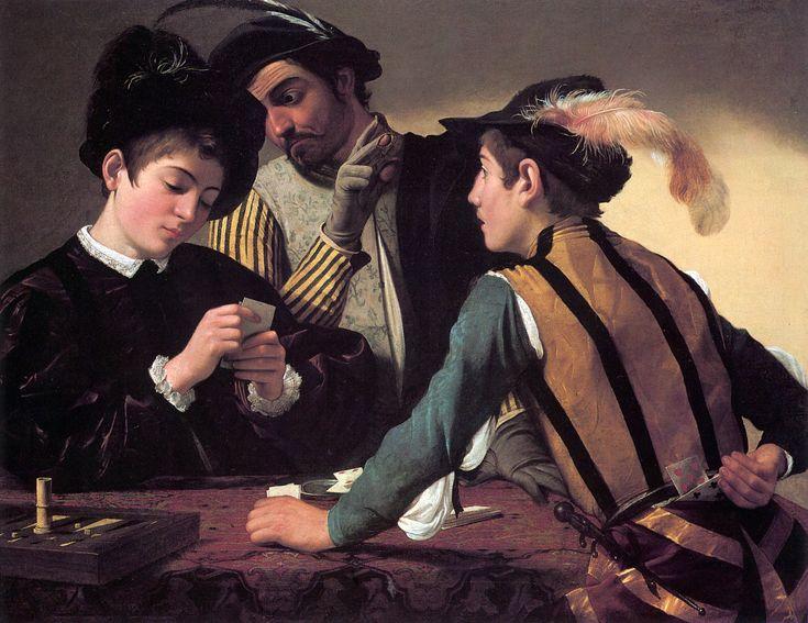 Caravaggio - I bari, 1594 circa, olio su tela, 94 × 131 cm, Fort Worth, Stati Uniti, Kimbell Art Museum.