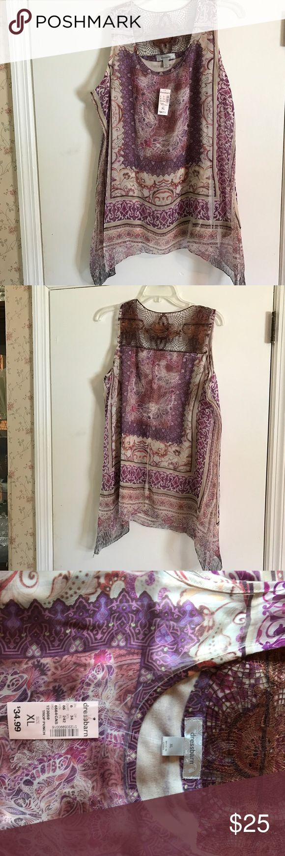 NWT. Multicolored summer blouse Beautiful flowing blouse with lace accent on back. Dress Barn Tops Blouses