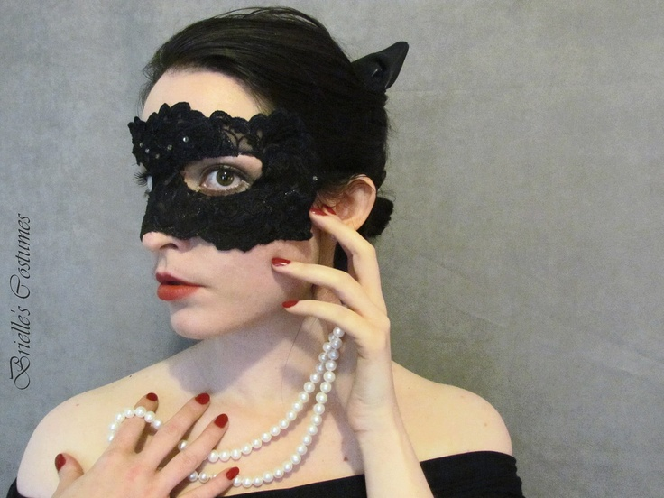 Catwoman Lace Mask and Leather Ears.