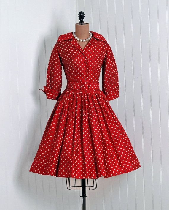 1950's red polka dots dress and pearls- I love the elbow length sleeves and pearl necklace!