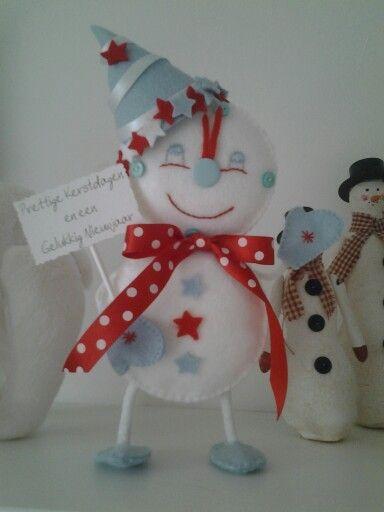 Mijn klok sneeuwpopje voor oud en nieuw