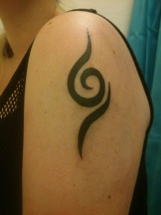 "My new ANBU tattoo! by Anita (~KashiRuka, Denmark): ""Yes, I finally got my tattoo. It was made the 24th of July, so it's approximately 1½ months old as of now, and I'm loving it more and more everyday. :) 'Tis also the reason I'll remake my Anbu cosplay, all from scratch, to J-popcon '14, which is in March."""