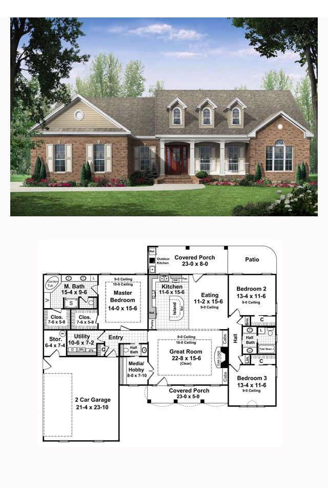 Country European Traditional House Plan 59106 684