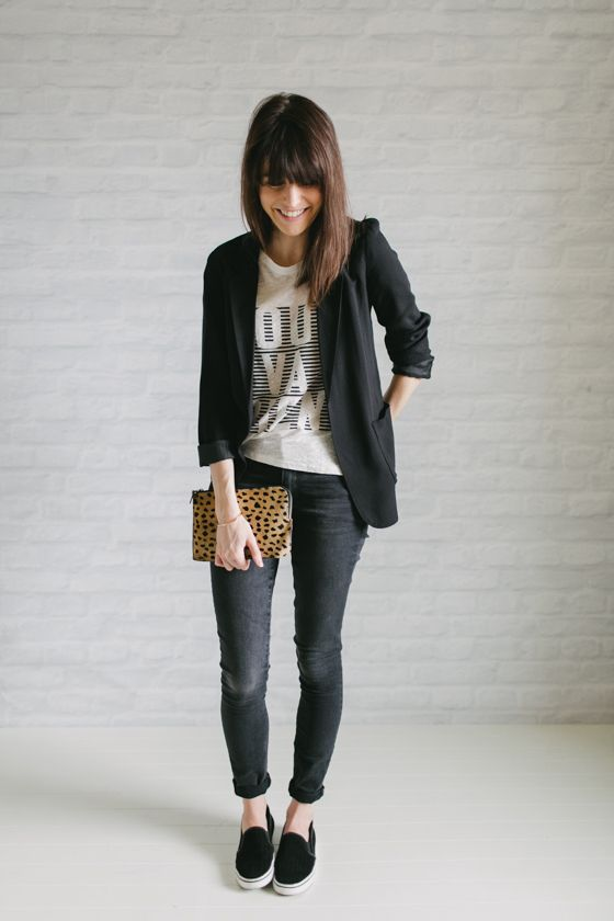Un-Fancy - minimalista - 37 peças no armário - blazer preto + calça jeans