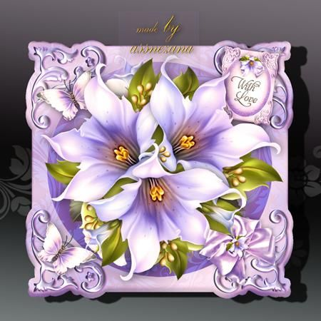 Soft Vintage Violet Flowers Card on Craftsuprint designed by Atlic Snezana - Soft Vintage Violet Flowers Card: 4 sheets for print with decoupage for 3D effect plus few sentiment tags (for your own personal text) - Now available for download!