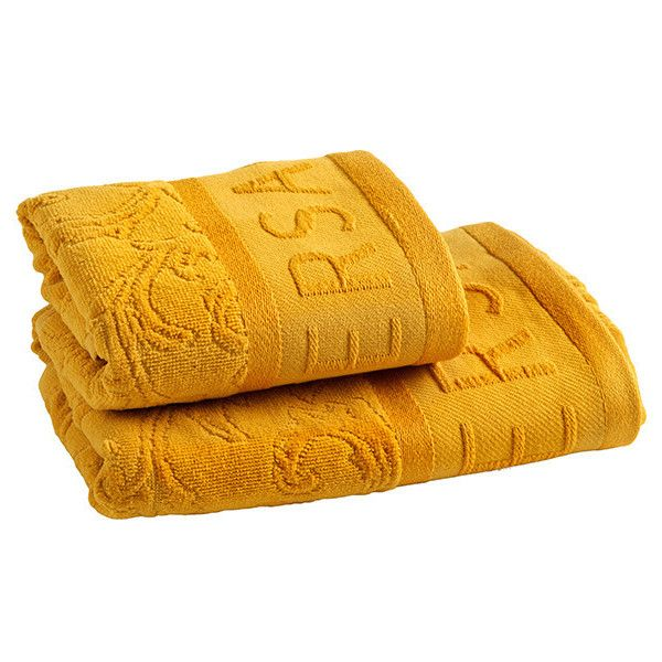 Versace Medusa Bath Towels - Set of 2 - Gold (400 BRL) ❤ liked on Polyvore featuring home, bed & bath, bath, bath towels, orange, orange bath towels, gold bath towels, gold hand towels, orange hand towels and versace