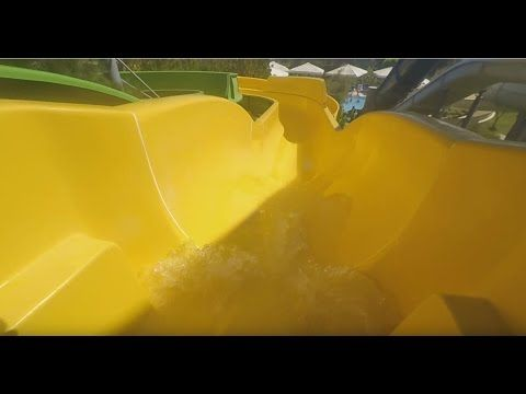 Yellow water slide run -  Lykia World Aquapark Turkey