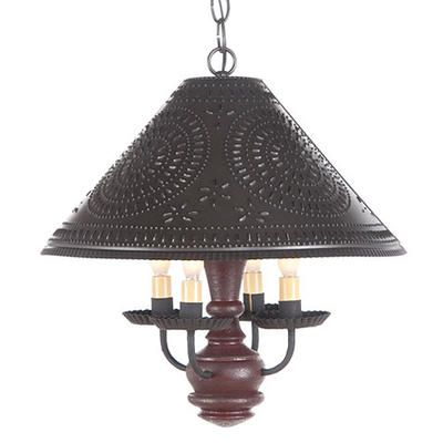 Primitive homespun shade light is handcrafted in pennsylvania by irvins country tinware comes direct wired with four candelabra sockets 60 watts max