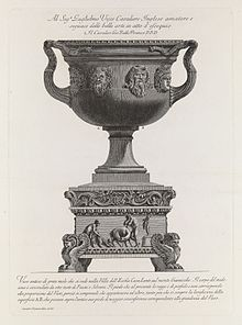 Giovanni Battista Piranesi, Grande vaso marmoreo su piedistallo di porfido, 1770.