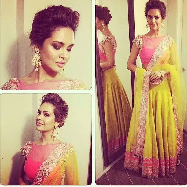 Esha Gupta looks AMAZING in this legenga choli!! **hairstyle**