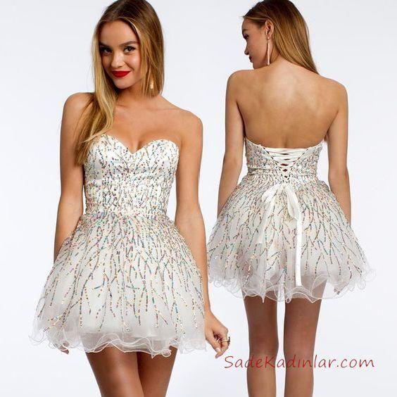 592c20466a2ea Mini Elbise Modelleri Beyaz Kısa Straplez Kalp Yaka Taş İşlemeli  #promdresses #eveningdresses #fashion #kleid