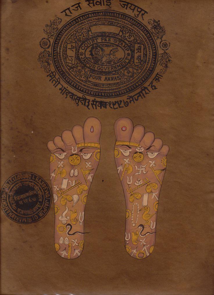 Vishnu Pada Footprint Foot Tantric Painting Indian Hindu Tantrik Handmade Art