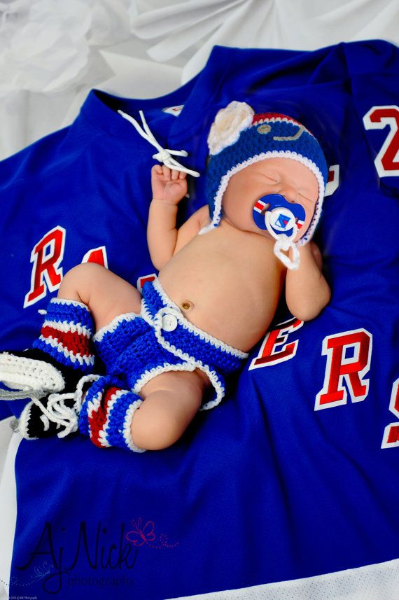 NEW YORK RANGERS Pacifier & Hockey Hat  by Grandmabilt, $89.00
