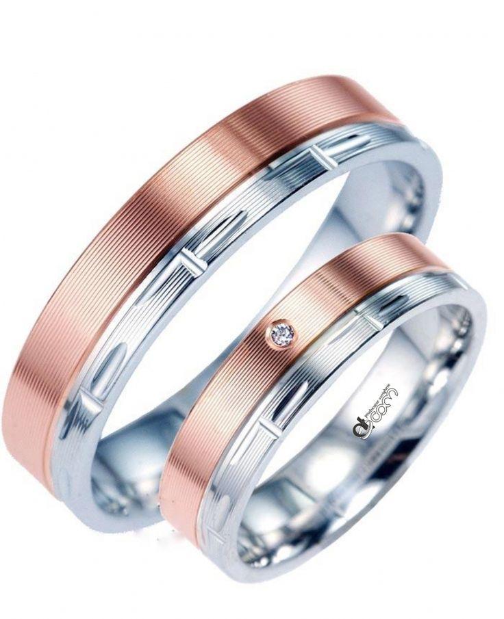 Verighete ATCOM Lux PAPPILON aur alb cu roz